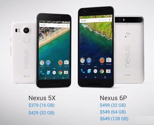 Смартфоны Nexus 5X и Nexus 6P
